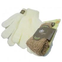 【olina】法國 elite 纖維去角質手套 +黃麻手套